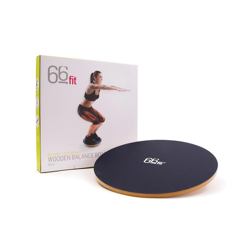 Woman Using 66fit Wooden Balance Board - PVC Surface - 40cm With Packaging
