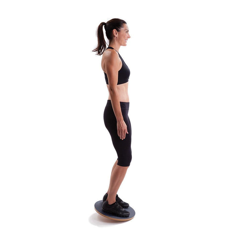 Woman Using 66fit Wooden Balance Board - PVC Surface - 50cm 2