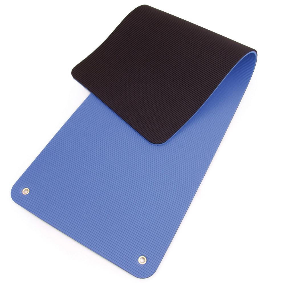 Folded 66fit Professional Exercise Mat - 17mm x 60cm x 180cm - Blue/Black