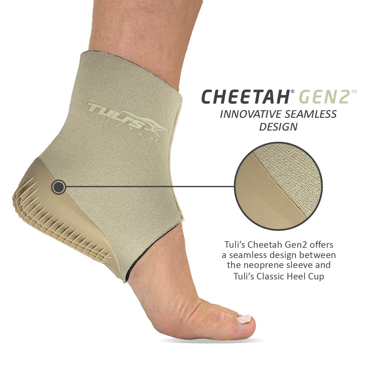 TULI'S CHEETAH GEN2 HEEL CUP WITH COMPRESSION SLEEVE YOUTH SIZES