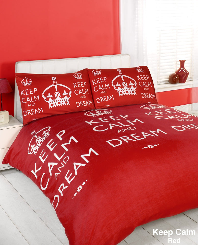 Textiles - Duvet Quilt Cover & Pillow Case Bed Set - Keep Calm Red - Super King