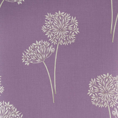 Fresco Floral Wallpaper Cora Lilac Purple Cream