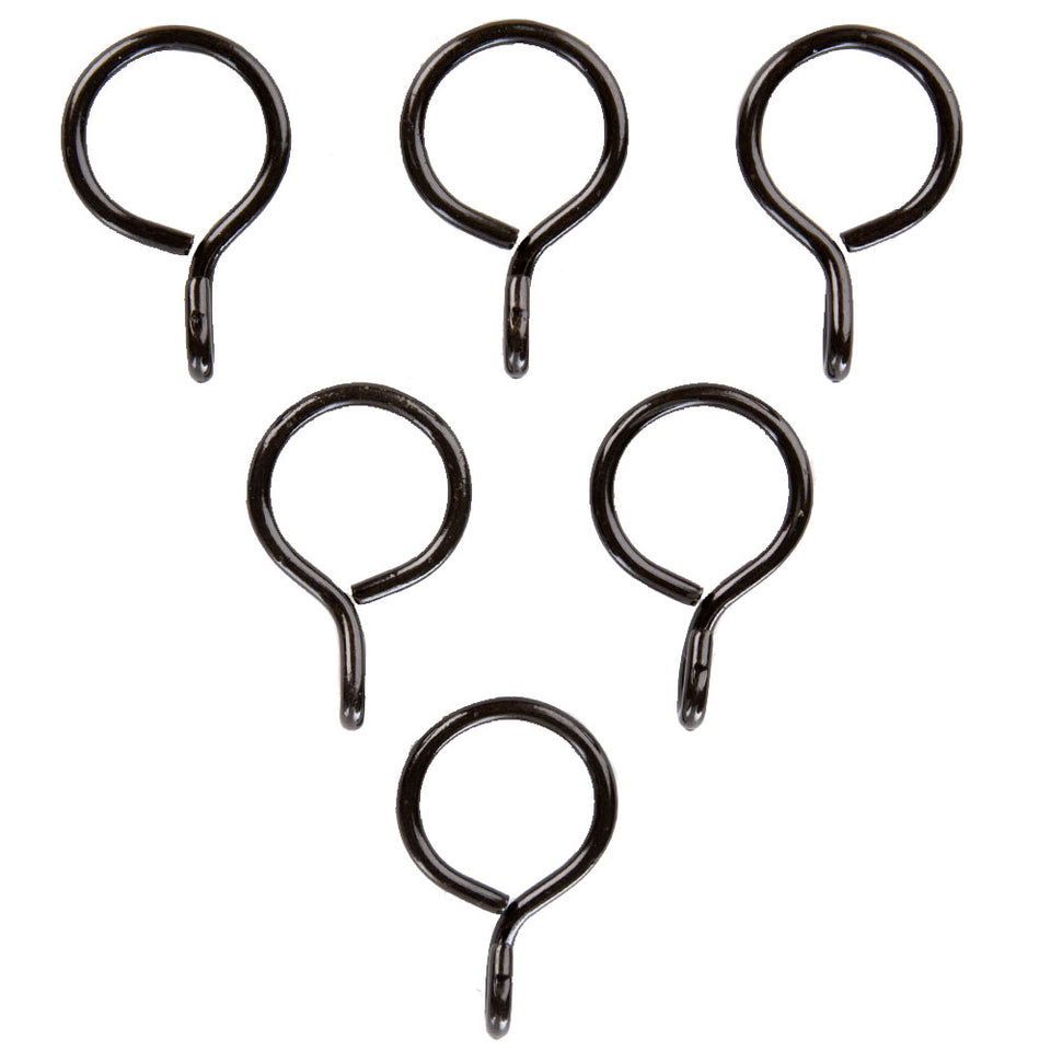 6 x Harrison Drape Curtain Rod Pole Rings - Hanging - Metal Black 10mm