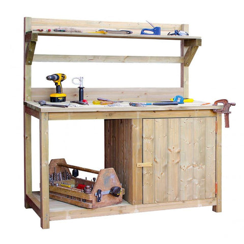 Wood Potting Bench for Shed, Garden or Greenhouse 165 x 64cm