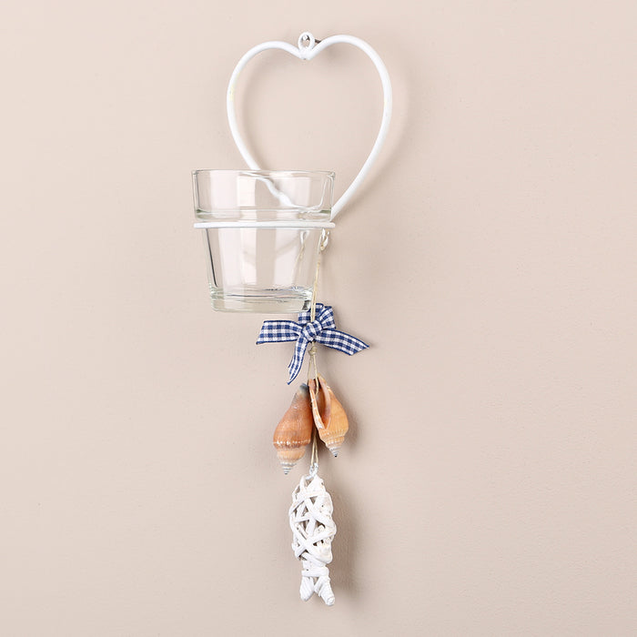 Tobs Hanging Glass Tea Light Candle Holder/Sconce - Single White Heart