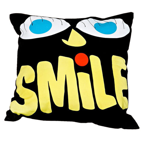 Urban Outfitters Cotton Sofa Cushion - Smile Face - Black - 400 x 400mm