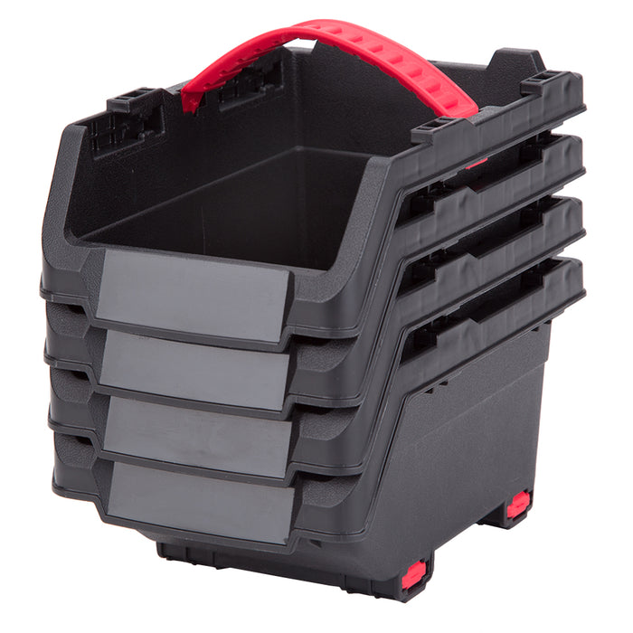 4 x Plastic Storage Pick Bin Boxes - DIY Garage Wall Containers  Small