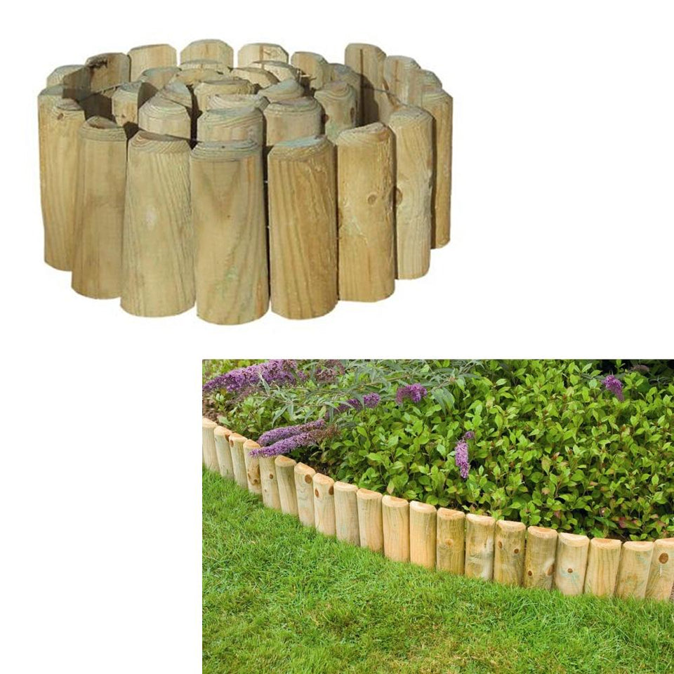 Gardening - Grange Garden Log Roll Edging Wooden 1.8m x 45cm