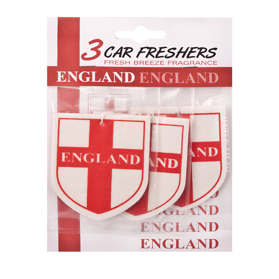 3x England Flag Car/Taxi/Van/Truck Air Fresheners - Fresh Breeze Scent