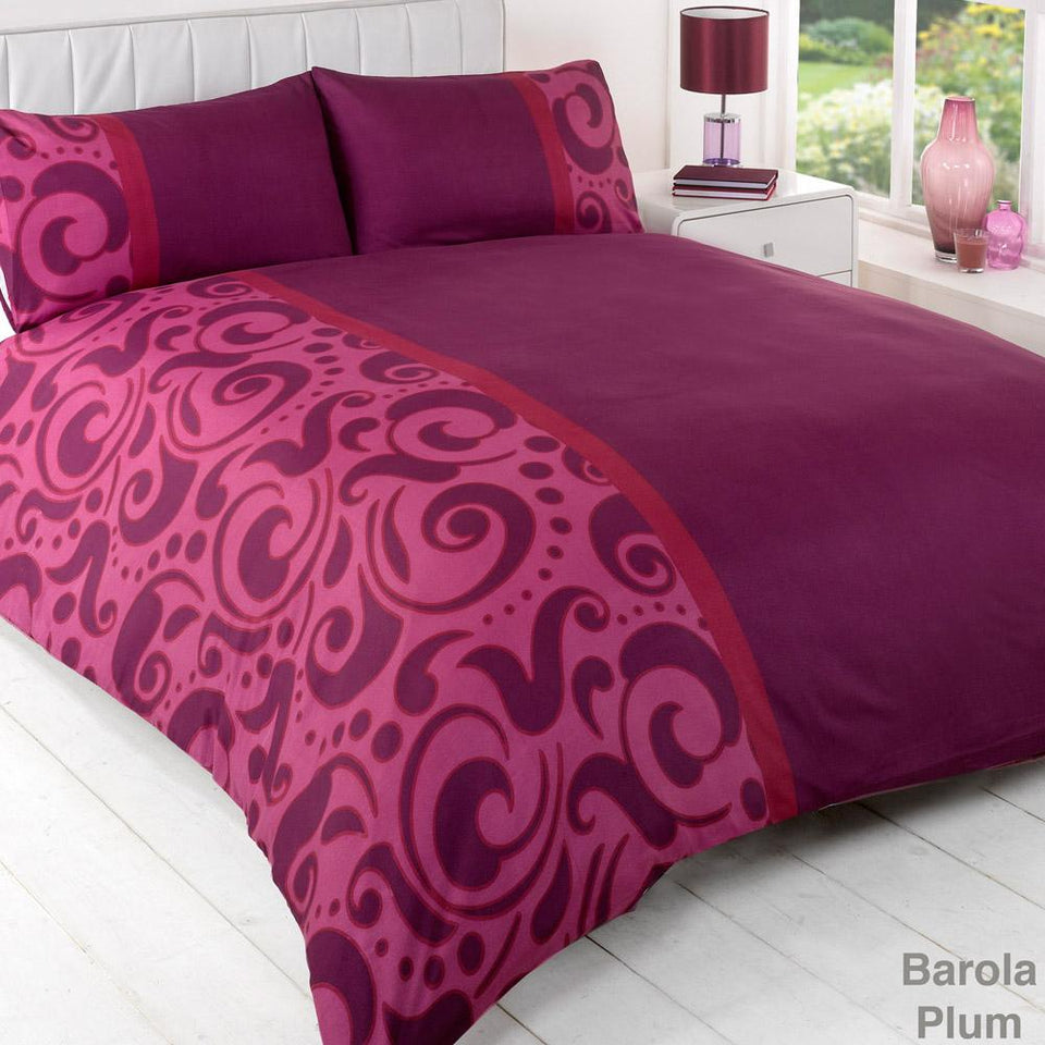 Textiles - Duvet Quilt Cover Bedding Barola Plum - Single