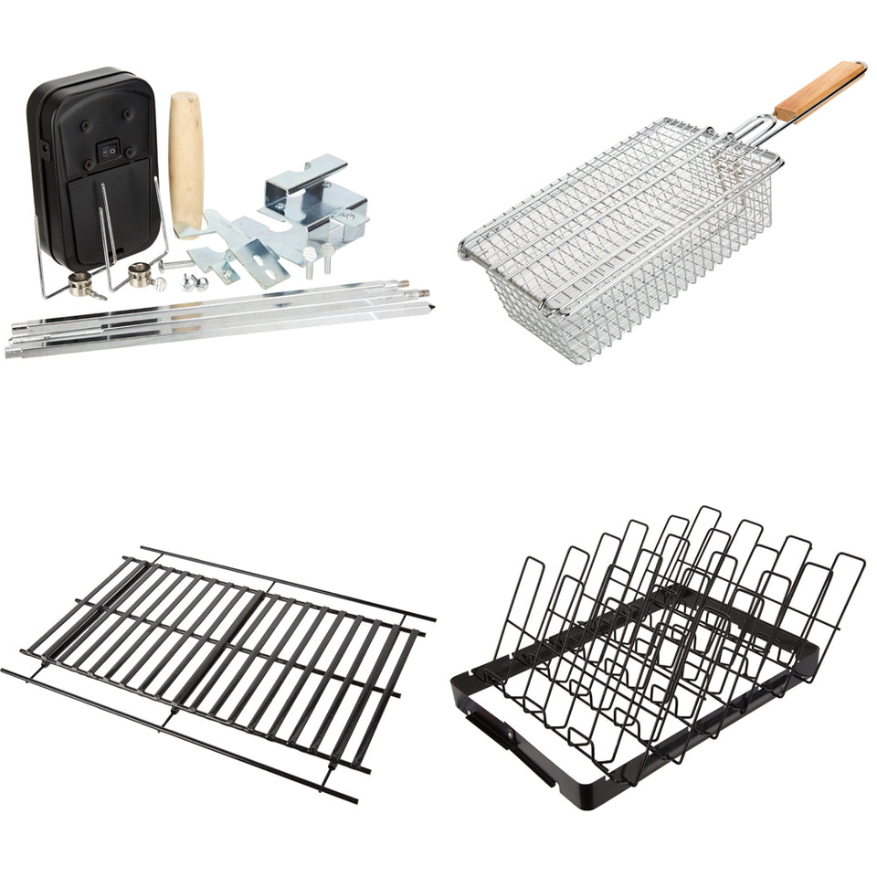 Kitchen - Summertime BBQ Cooking Set - Cooking Rib Rack, Cooking Basket, Cooking Grid, Rotisserie Kit