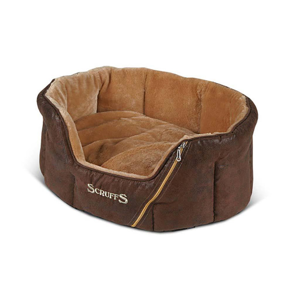 Pet Supplies - Scruffs Ranger Small Faux Suede Pet Dog Bed Brown - 46 x 36cm