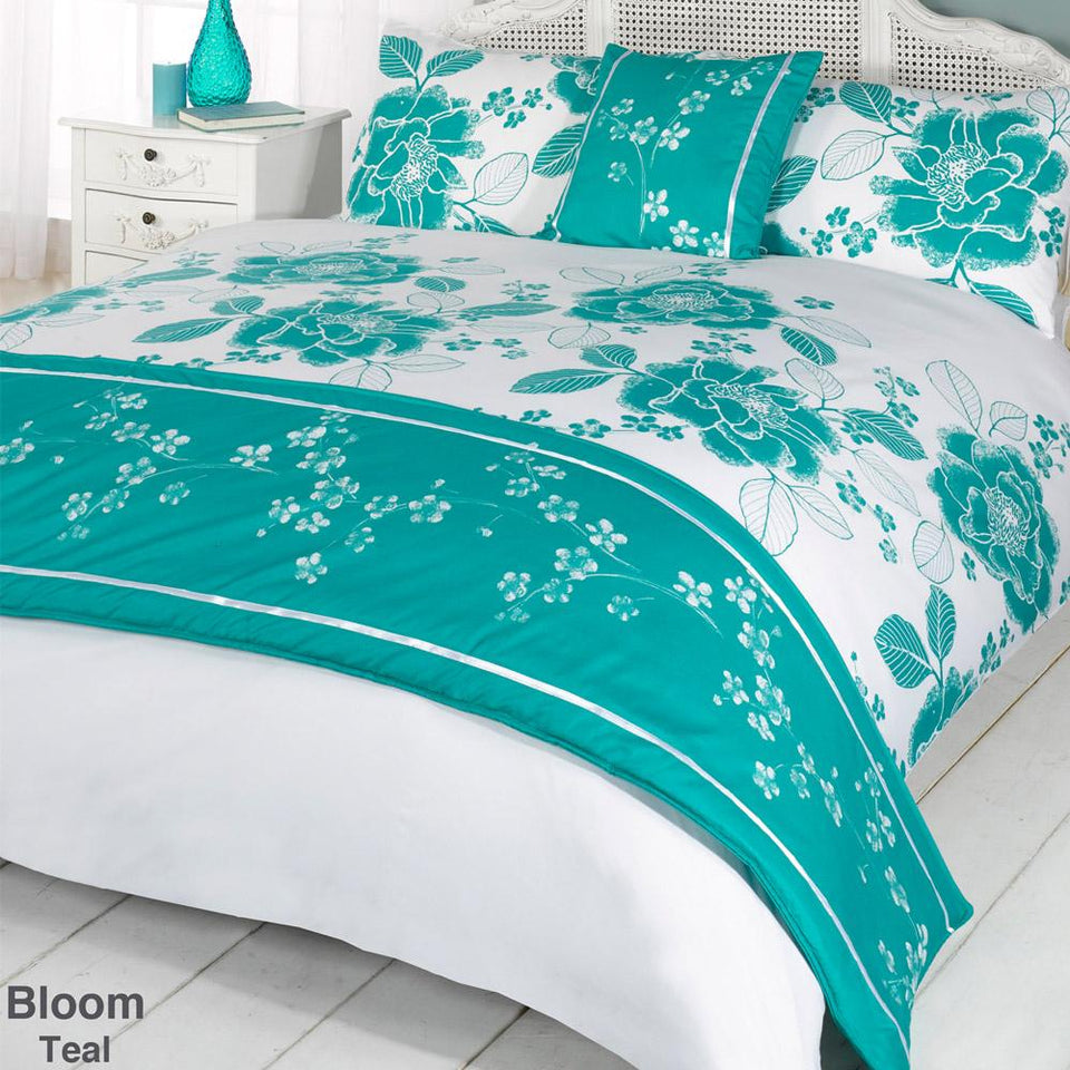 Textiles - Bed in a Bag Duvet Quilt Cover Bedding Set - Bloom Teal - Single