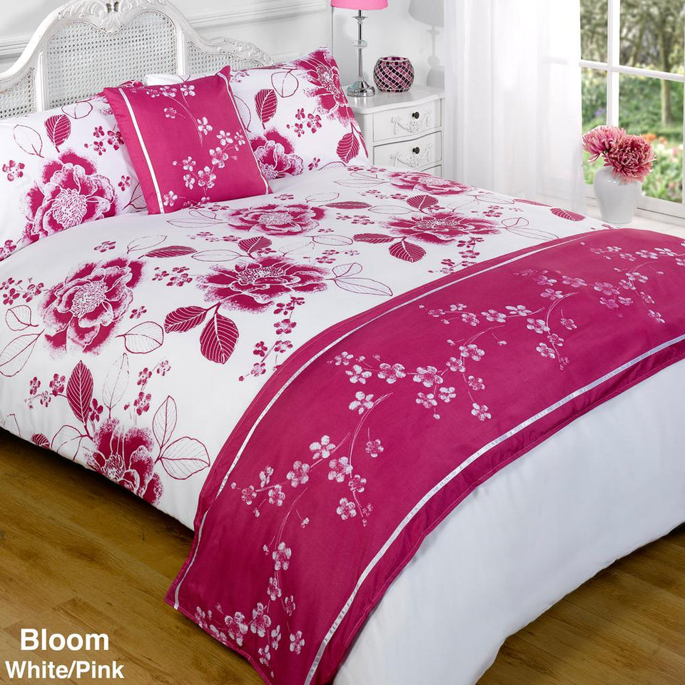 Textiles - Bed In A Bag Duvet Set Quilt Cover - Bloom White & Purple - Double