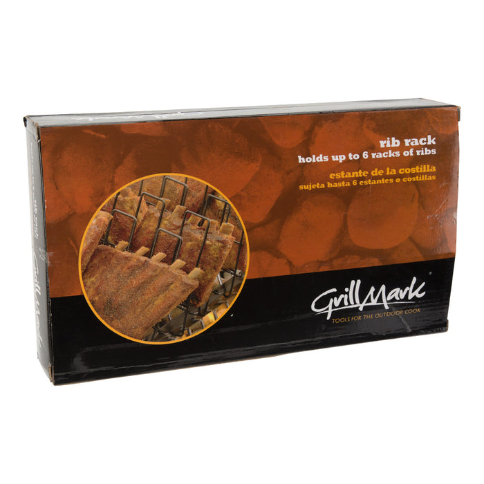 GrillMark Easy to use BBQ Cooking Rib Rack, Black