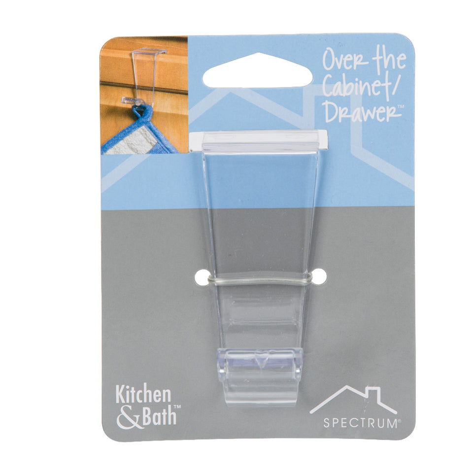 Kitchen & Bathroom Over The Cabinet/Drawer Hook - Clear Plastic