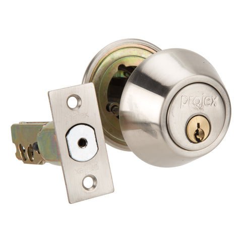 Projex Deadbolt Security Door Lock With Keys Double Cylinder - Silver Finish - 36mm - 45mm