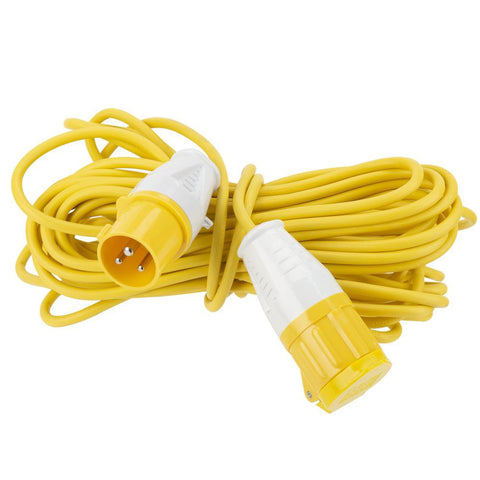 15M 110V Outdoor Extension Cord & Holder - Single Outlet - Yellow