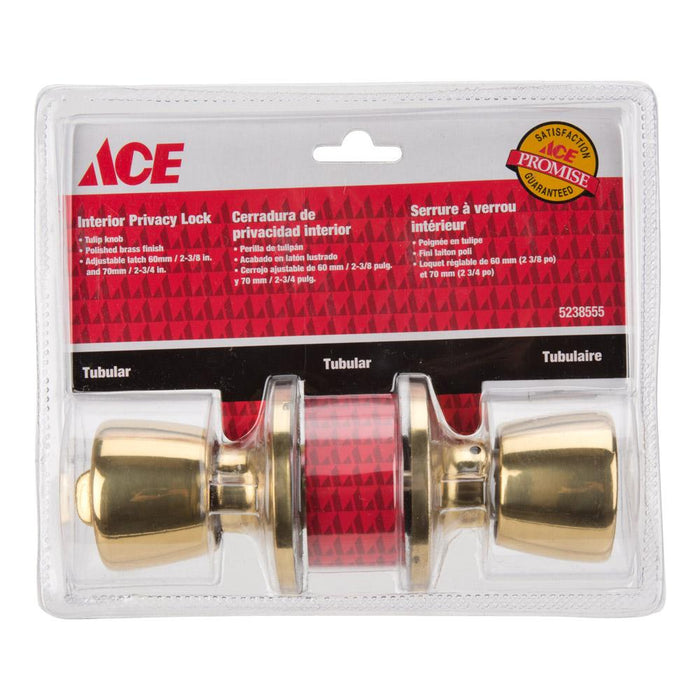 ACE Tulip Knob Home Security Set - Brass Finish - Interior Privacy Lock