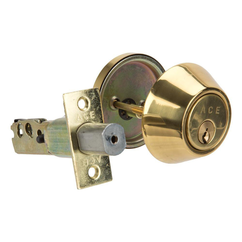 DIY / Tools - ACE Residential Home Security Set - Brass Finish - Deadbolt Single Cylinder