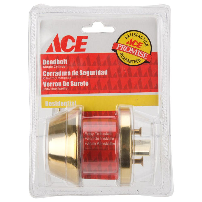 ACE Residential Home Security Set - Brass Finish - Deadbolt Single Cylinder