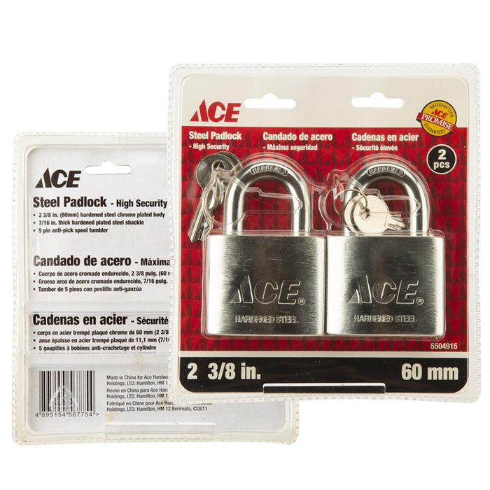 ACE High Security Steel Padlock - Stainless Steel Casing - 2 3/8"
