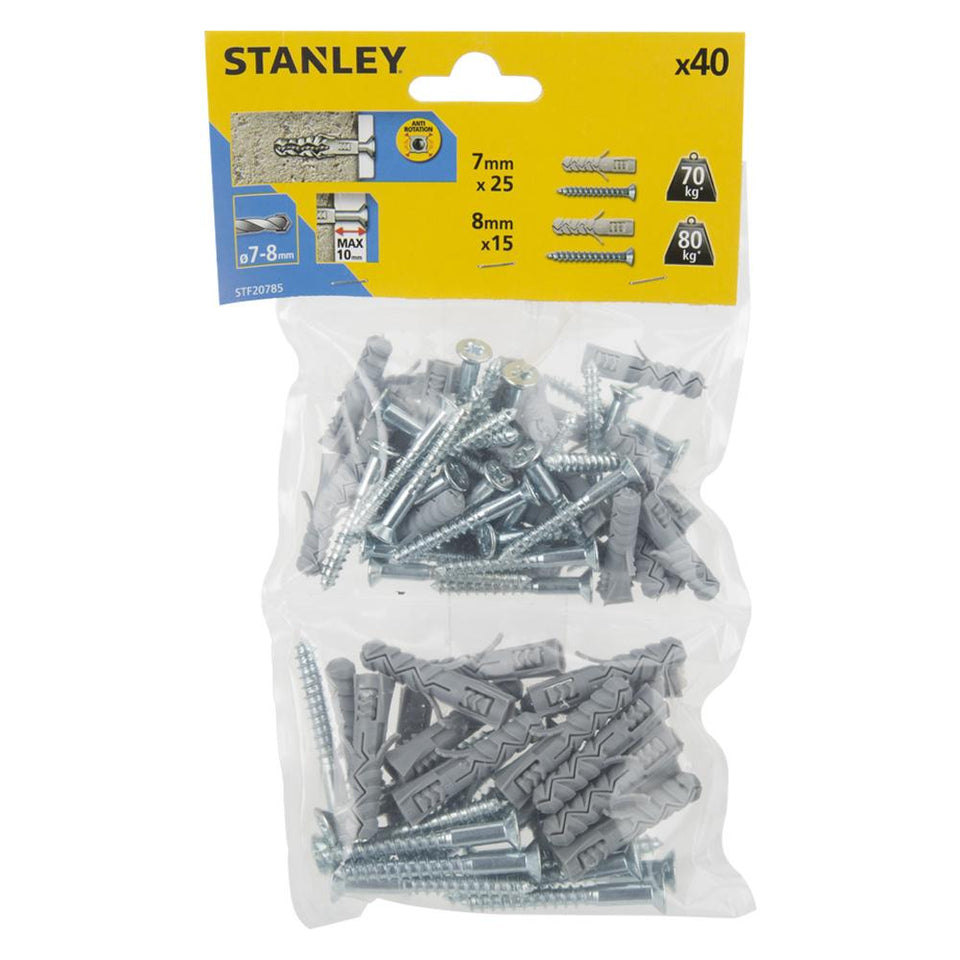 DIY & Tools - Stanley Solid Nylon Plugs 40 Pieces 7mm 8mm