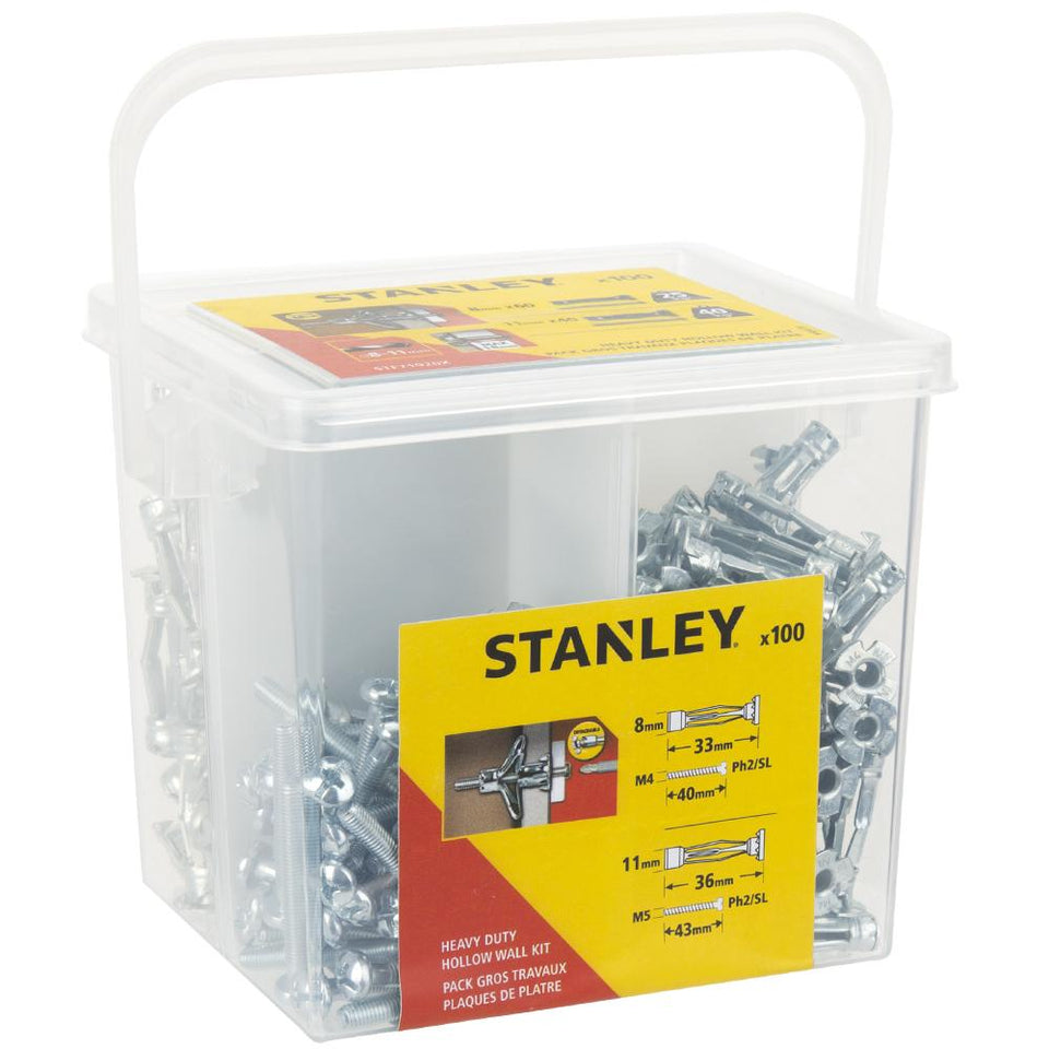 100 Pieces Stanley Heavy Duty Hollow Wall Kit STF71020X-XJ