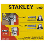 100 Pieces Stanley Heavy Duty Hollow Wall Kit
