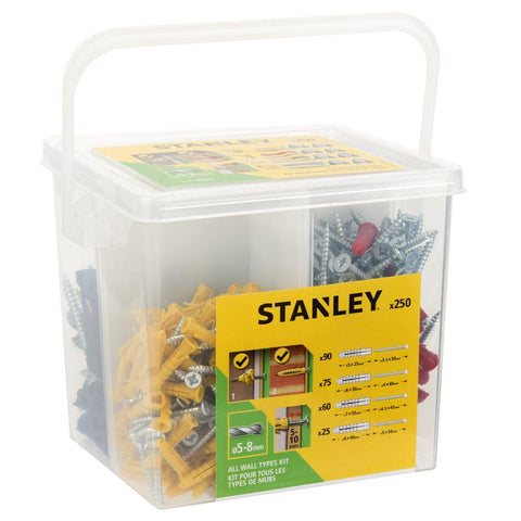 250 Pieces Stanley Mixed Anchors & Screw Kit