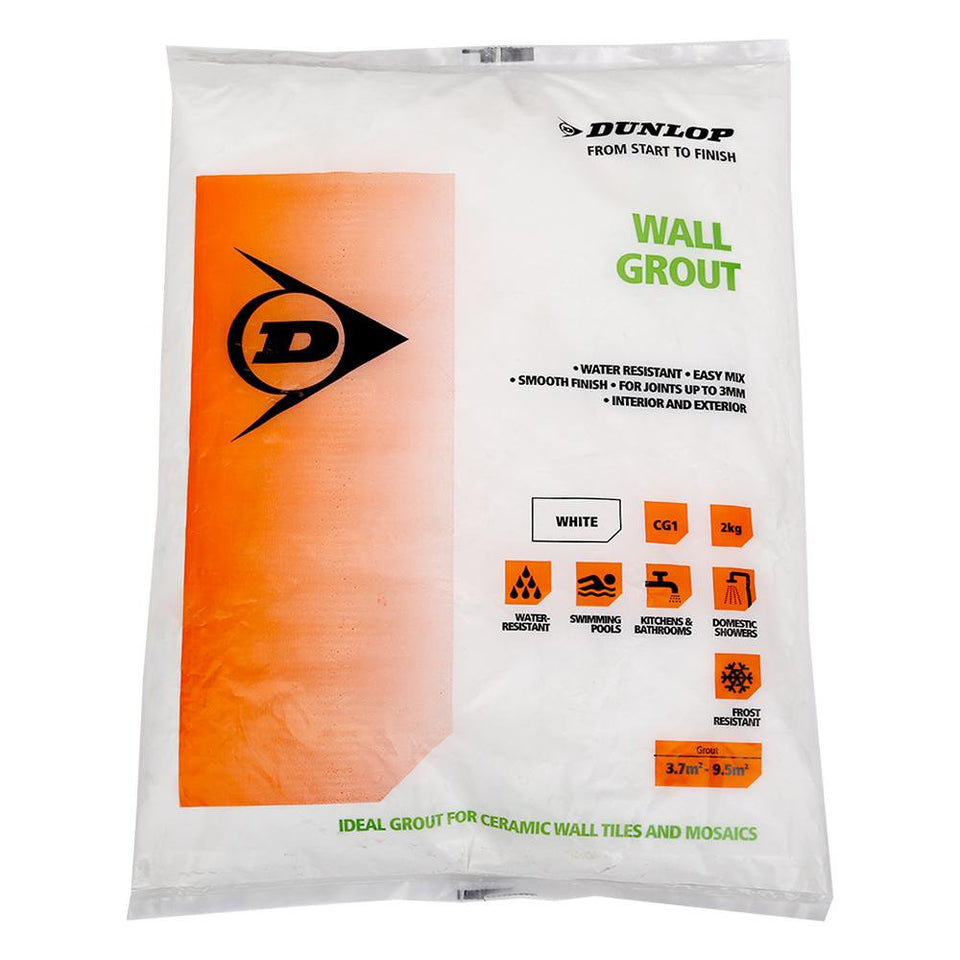 DIY & Tools - Dunlop Interior / Exterior Wall Ceramic Tile Grout Powder White 2kg