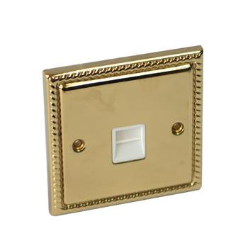 Georgian Rope Brass Plated White Telephone Internet Cable Socket