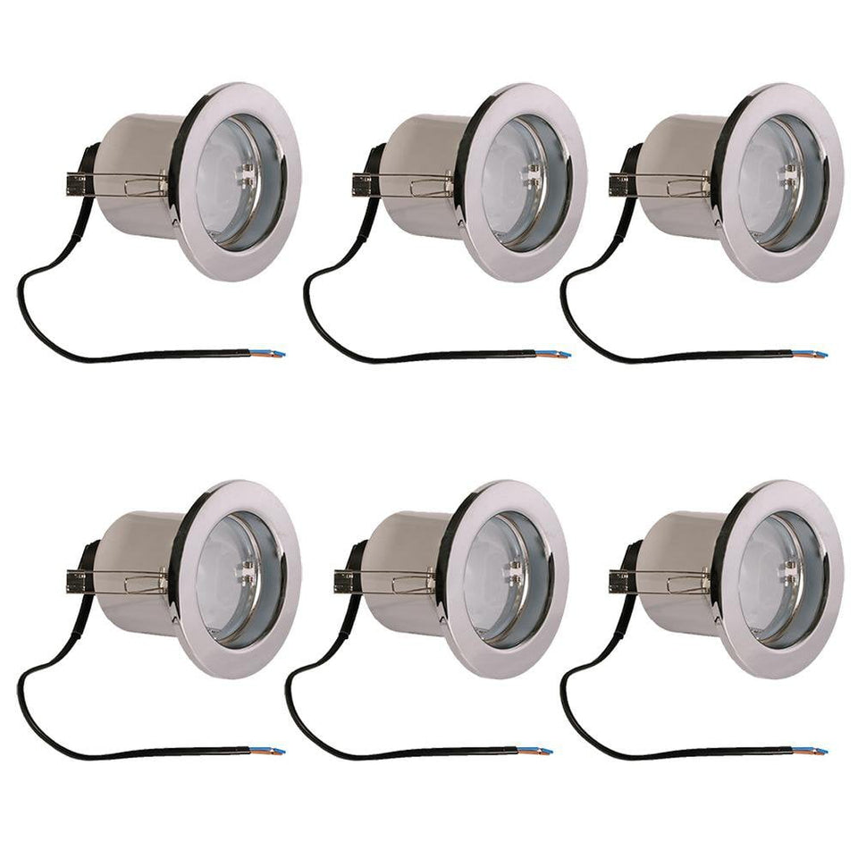 6xNewlec Downlighter Spotlight Recessed Ceiling 240V R80 100W - Chrome