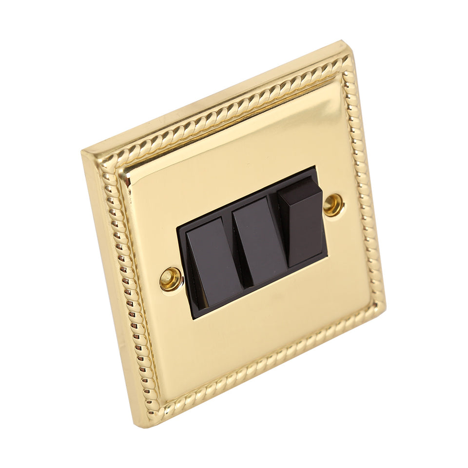 13A Triple Light Switch - Georgian Rope Polished Brass - 3 Gang 2 Way