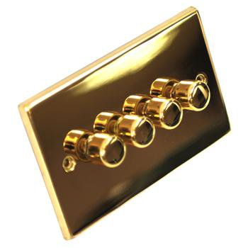 GET Push Dimmer Light Switch - Victorian Polished Brass - 4 Gang 2 Way
