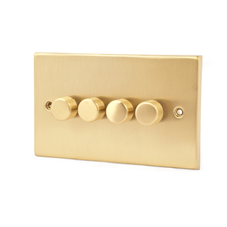 GET Push Dimmer Light Switch - Brushed Matt Brass - 4 Gang 2 Way