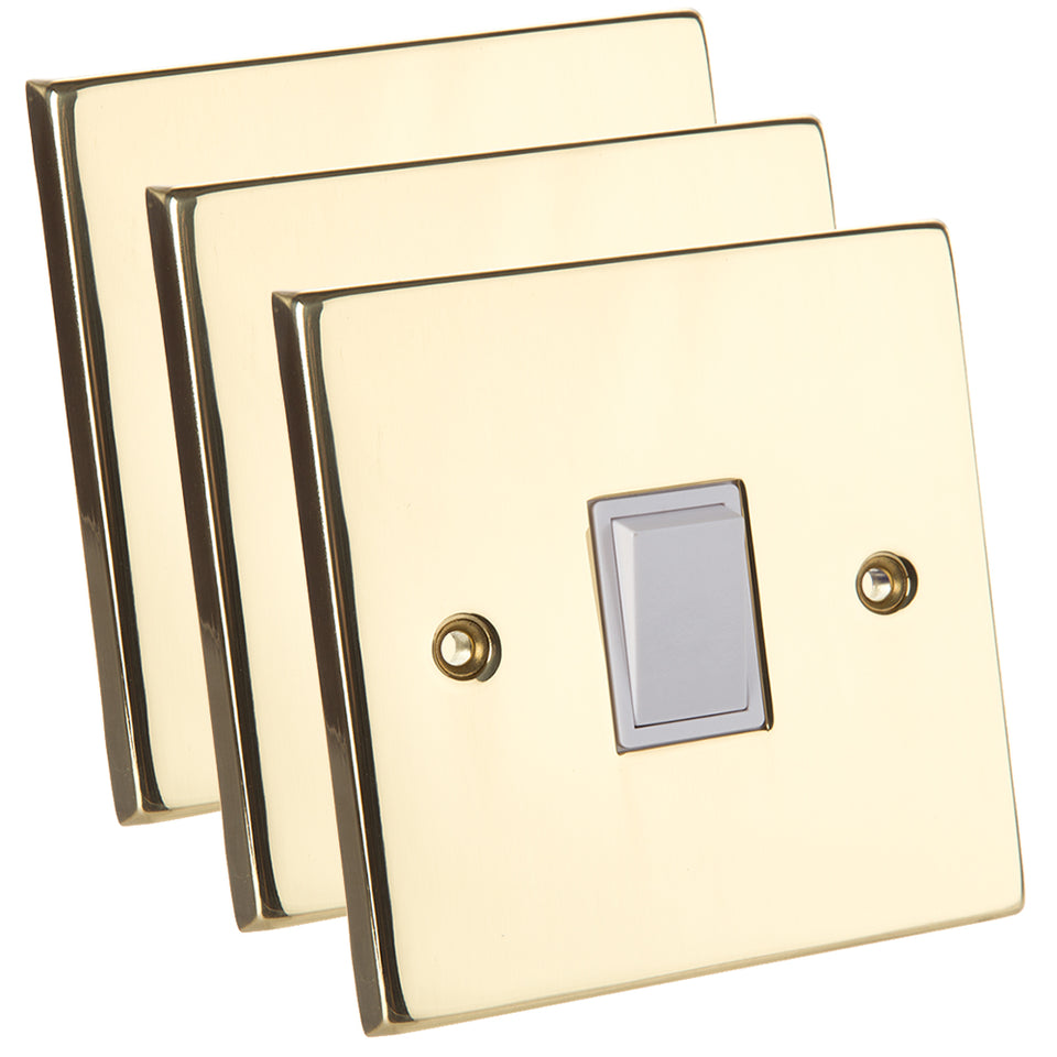 3 x GET 6A Mains Triple Light Switch - Polished Mirror Brass
