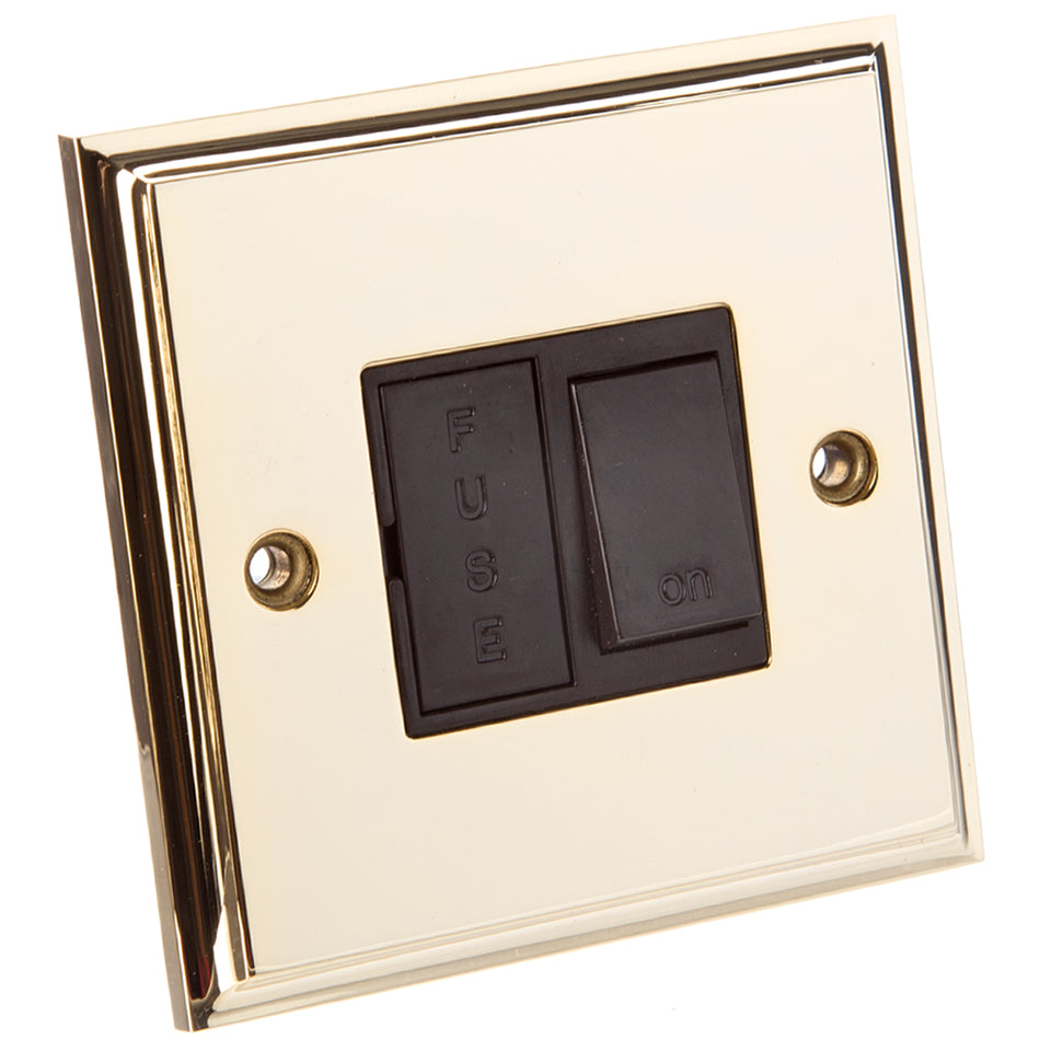 Philex Fused Spur Switch - Polished Brass - 13 Amp