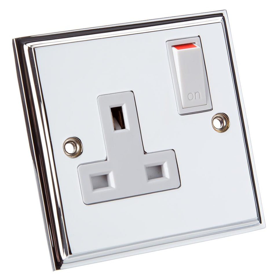 Philex Single Switched Socket - Victorian Brushed Steel - 13A