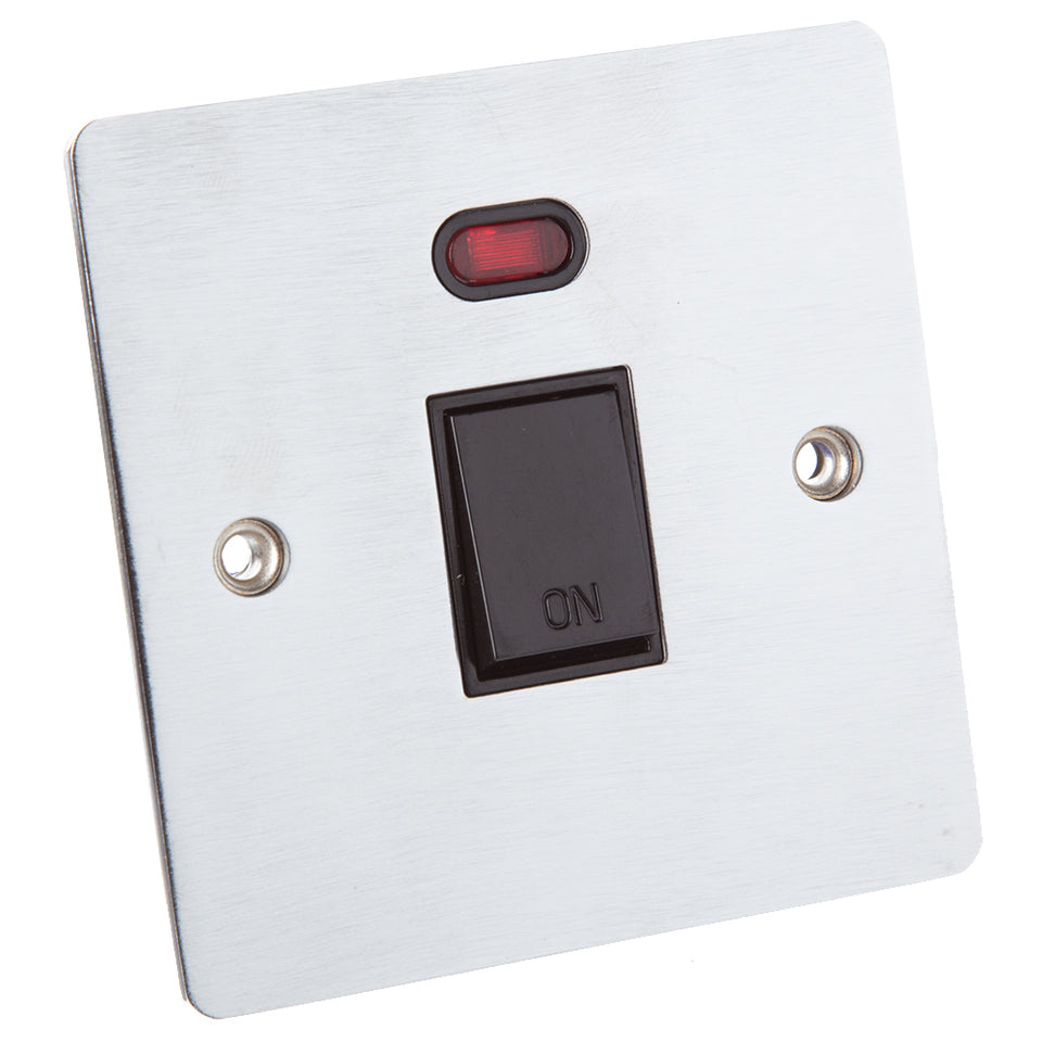 Philex 20A Double Pole & Neon Single Cooker Switch - Brushed Steel