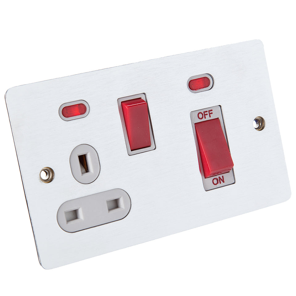 Philex 45A Flush Cooker Switch & Socket - Brushed Steel - Red Inserts