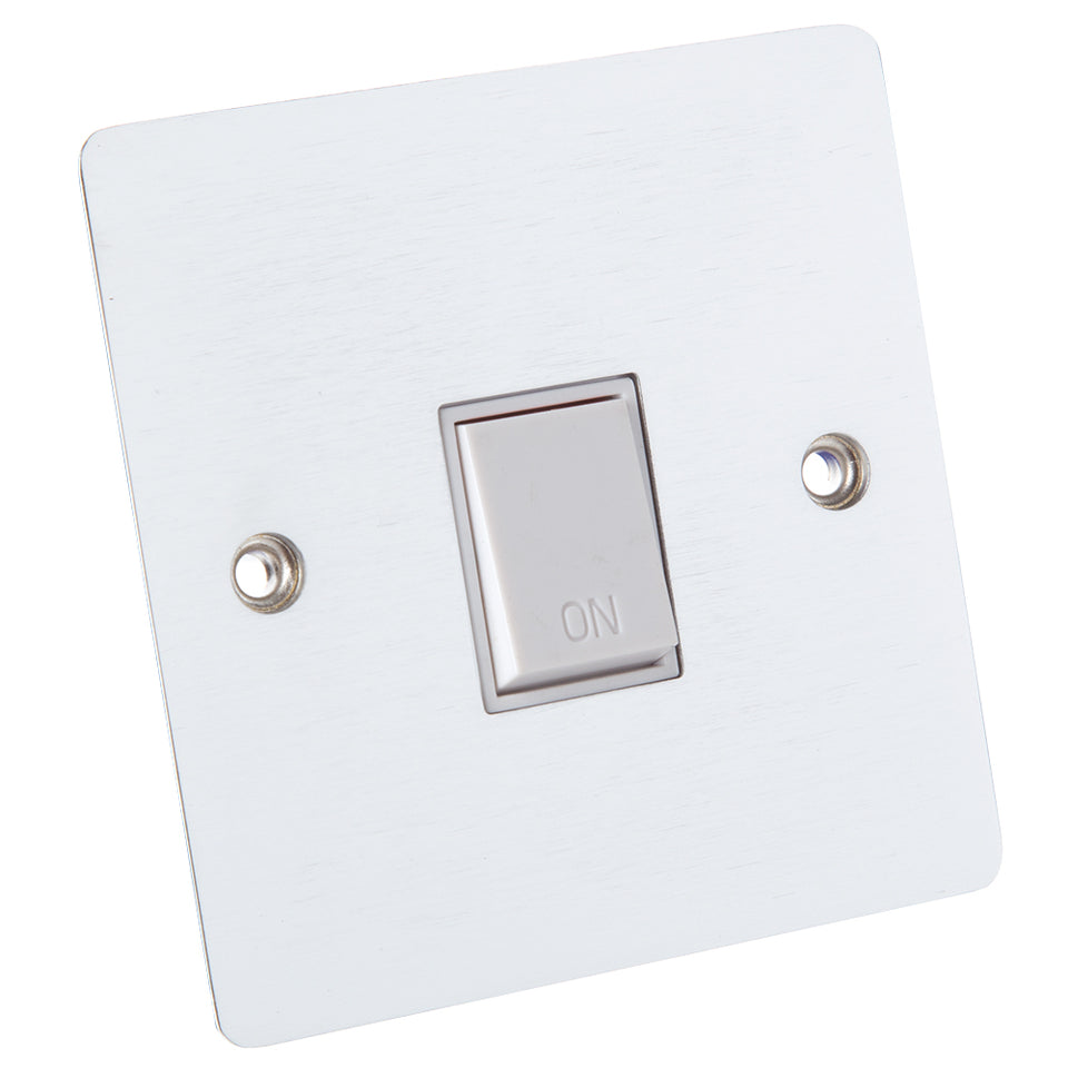 Philex 20A Double Pole Cooker Switch Plate - Brushed Steel