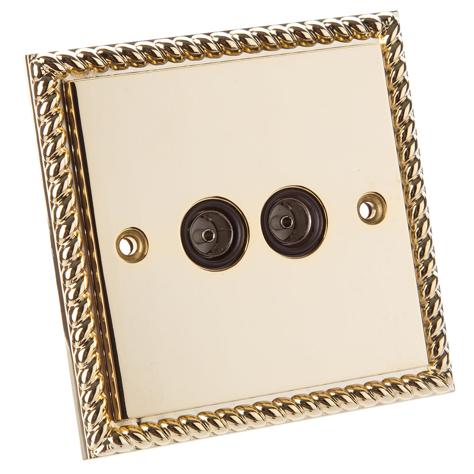 Philex Twin Outlet Socket - Georgian Polished Brass