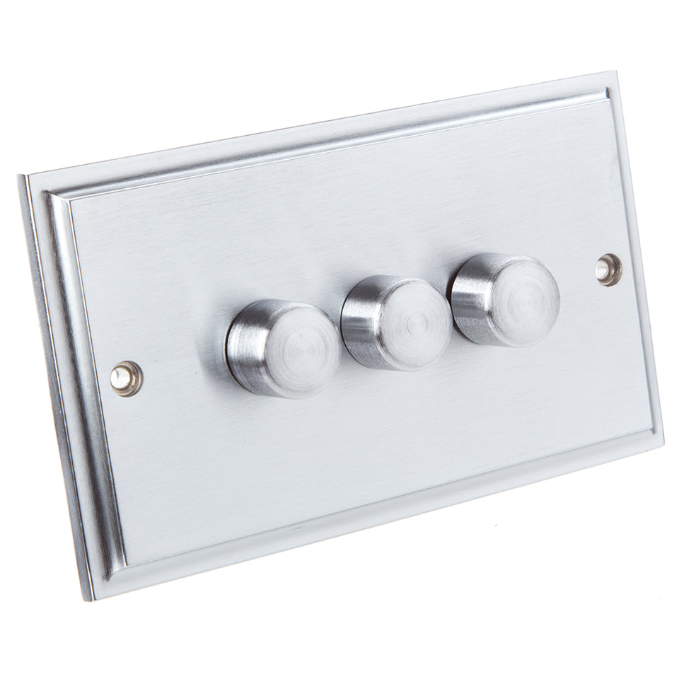 Philex Dimmer Light Switch - Brushed Steel - 3 Gang 1 Way