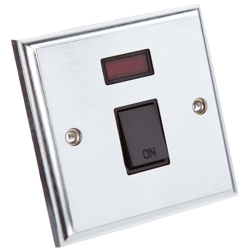 Philex Double Pole Switch - Victorian Brushed Steel - 20A