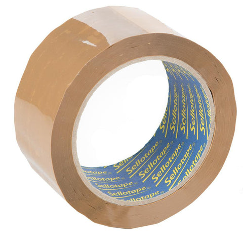 Sellotape Strong Parcel Packing Tape Roll - Brown - 50mm x 66m