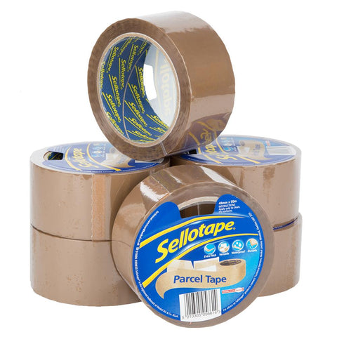 6 x Sellotape Strong Parcel Tape Rolls - Packing - Brown - 48mm x 50m