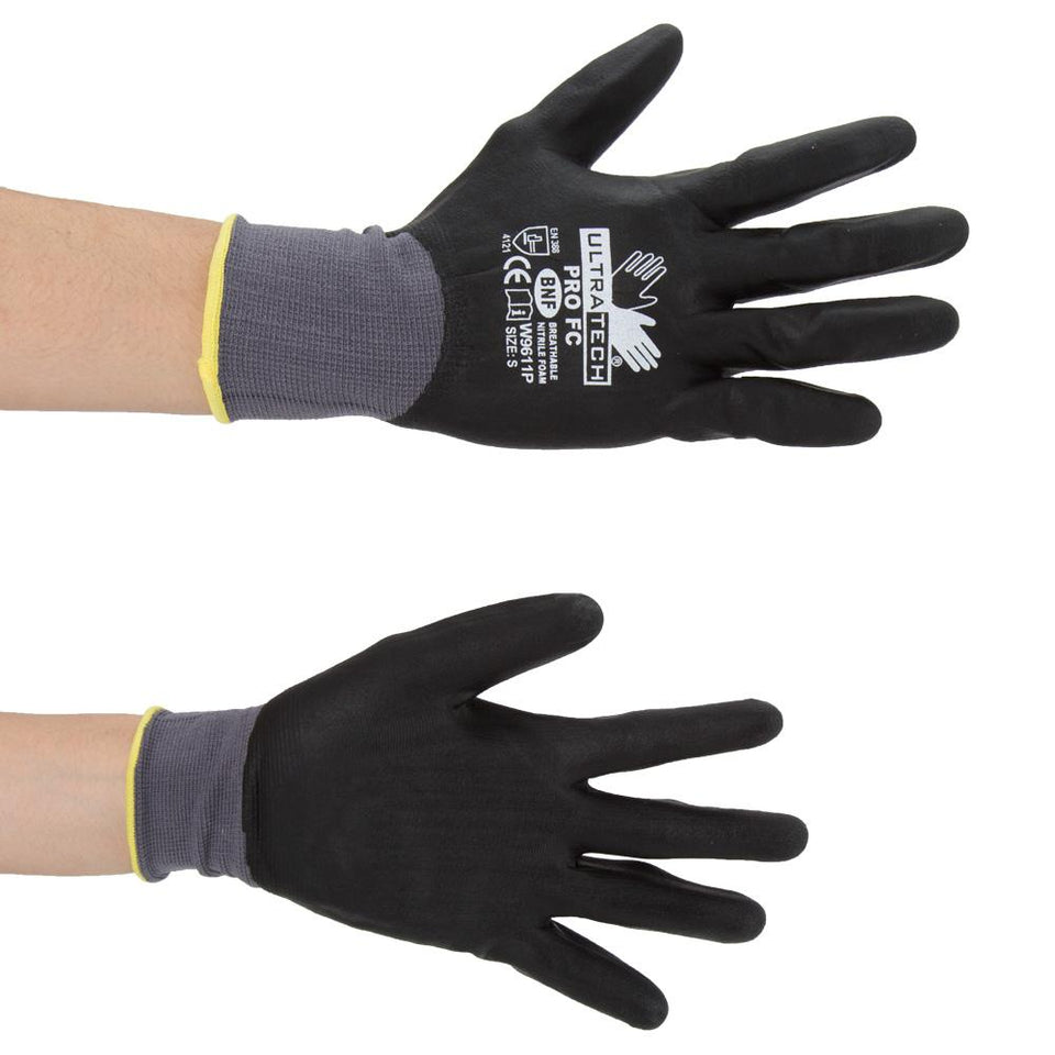 DIY & Tools - MCR Safety Ultra Tech Work Gloves Black Small