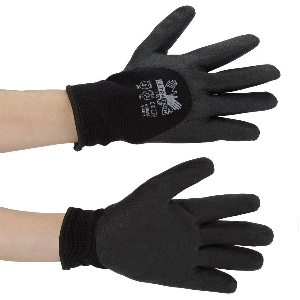 DIY & Tools - MCR Safety Ultra Tech Freeze Workwear Gloves Black Large