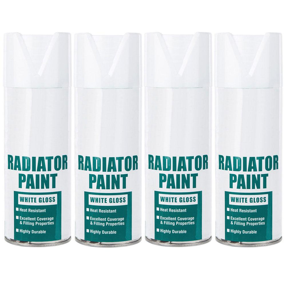 Paint - 4 Pack Spray Paint Heat Resistant Gloss White 400 ml